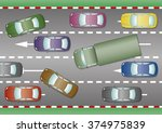 some cars and trucks trapped in ... | Shutterstock .eps vector #374975839