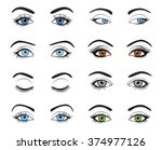 Set of female eyes and brows image with beautifully fashion make up. Vector illustration for health glamour design. Blue, green and brown colors. Close and open woman eyes.