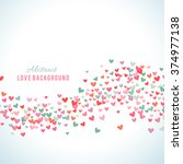 romantic pink and blue heart... | Shutterstock .eps vector #374977138