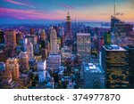 manhattan skyline at dusk | Shutterstock . vector #374977870