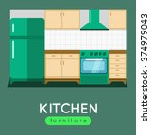 kitchen furniture vector... | Shutterstock .eps vector #374979043