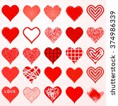 valentine day art hearts set | Shutterstock .eps vector #374986339