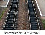 railroad tracks with railroad... | Shutterstock . vector #374989090