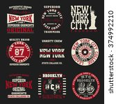 new york set typography  t... | Shutterstock .eps vector #374992210