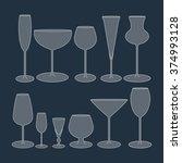 glasses set icon on the blue... | Shutterstock .eps vector #374993128
