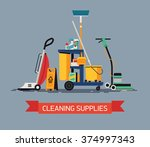cool vector cleaning supplies... | Shutterstock .eps vector #374997343
