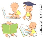 set with cute babies in diapers.... | Shutterstock .eps vector #375012568