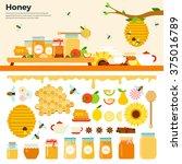honey products vector flat... | Shutterstock .eps vector #375016789
