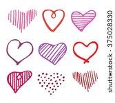 love set unique hand drawn... | Shutterstock .eps vector #375028330