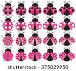 pink ladybugs | Shutterstock .eps vector #375029950
