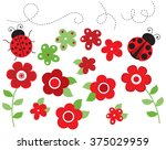 ladybugs and flowers  red  | Shutterstock .eps vector #375029959