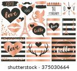 Stock vector valentine elements in rose gold foil and slate 375030664