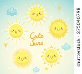 set with cute suns  sunny... | Shutterstock .eps vector #375040798