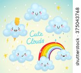 set with cute clouds  different ... | Shutterstock .eps vector #375043768