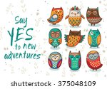 owl tribal vector set | Shutterstock .eps vector #375048109