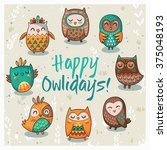 happy owlidays card with owls.... | Shutterstock .eps vector #375048193