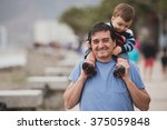 young grandfather and his... | Shutterstock . vector #375059848