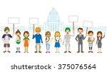 protest in front of the... | Shutterstock .eps vector #375076564