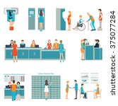 people in a bank interior ... | Shutterstock .eps vector #375077284