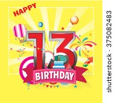 happy birthday 13 date   fun... | Shutterstock .eps vector #375082483