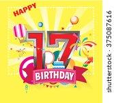 happy birthday 17 date   fun... | Shutterstock .eps vector #375087616