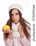 sick young woman in pajamas and ...   Shutterstock . vector #375095266