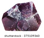 Small photo of macro shooting of natural mineral stone - crystal of garnet (almandine) gemstone isolated on white background