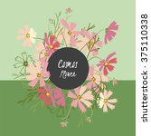 floral cosmos flowers and... | Shutterstock .eps vector #375110338