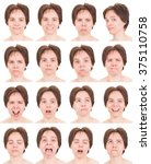 brunette short hair adult... | Shutterstock . vector #375110758