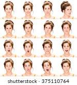 long hair brunette young... | Shutterstock . vector #375110764