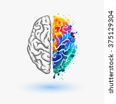 left and right hemisphere of... | Shutterstock .eps vector #375129304