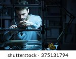 young engineer working at night ... | Shutterstock . vector #375131794