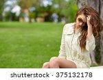 caucasian  woman smiling happy ... | Shutterstock . vector #375132178
