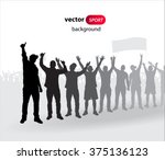 crowd of fans for sports and... | Shutterstock .eps vector #375136123