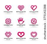 set of stylized heart symbols... | Shutterstock .eps vector #375142288