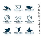 set of various bird symbols and ... | Shutterstock .eps vector #375142360