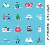 winter season flat icons... | Shutterstock .eps vector #375142606