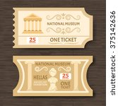 two vintage museum tickets to ... | Shutterstock .eps vector #375142636