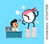 cartoon deadline clock... | Shutterstock .eps vector #375147508