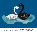 drawing black and white swan | Shutterstock .eps vector #375154360