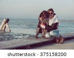 young woman train her german... | Shutterstock . vector #375158200