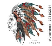 man in the native american... | Shutterstock .eps vector #375162394