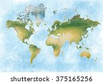 illustration world map and the... | Shutterstock . vector #375165256