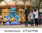 Small photo of HYDERABAD,INDIA-FEBRUARY 5: Visitors have fun in the amusement park with rides like carousal on February 5,2016 in Hyderabad,India.