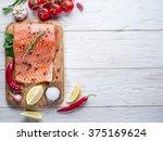 Fresh Salmon On The Cutting...