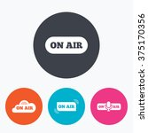 on air icons. live stream signs....   Shutterstock .eps vector #375170356
