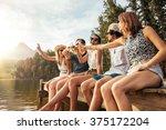 portrait of young friends... | Shutterstock . vector #375172204