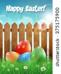 easter card with easter eggs... | Shutterstock .eps vector #375175900