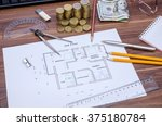 drawing house with coin  pen... | Shutterstock . vector #375180784