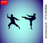 martial art silhouette vector... | Shutterstock .eps vector #375180886